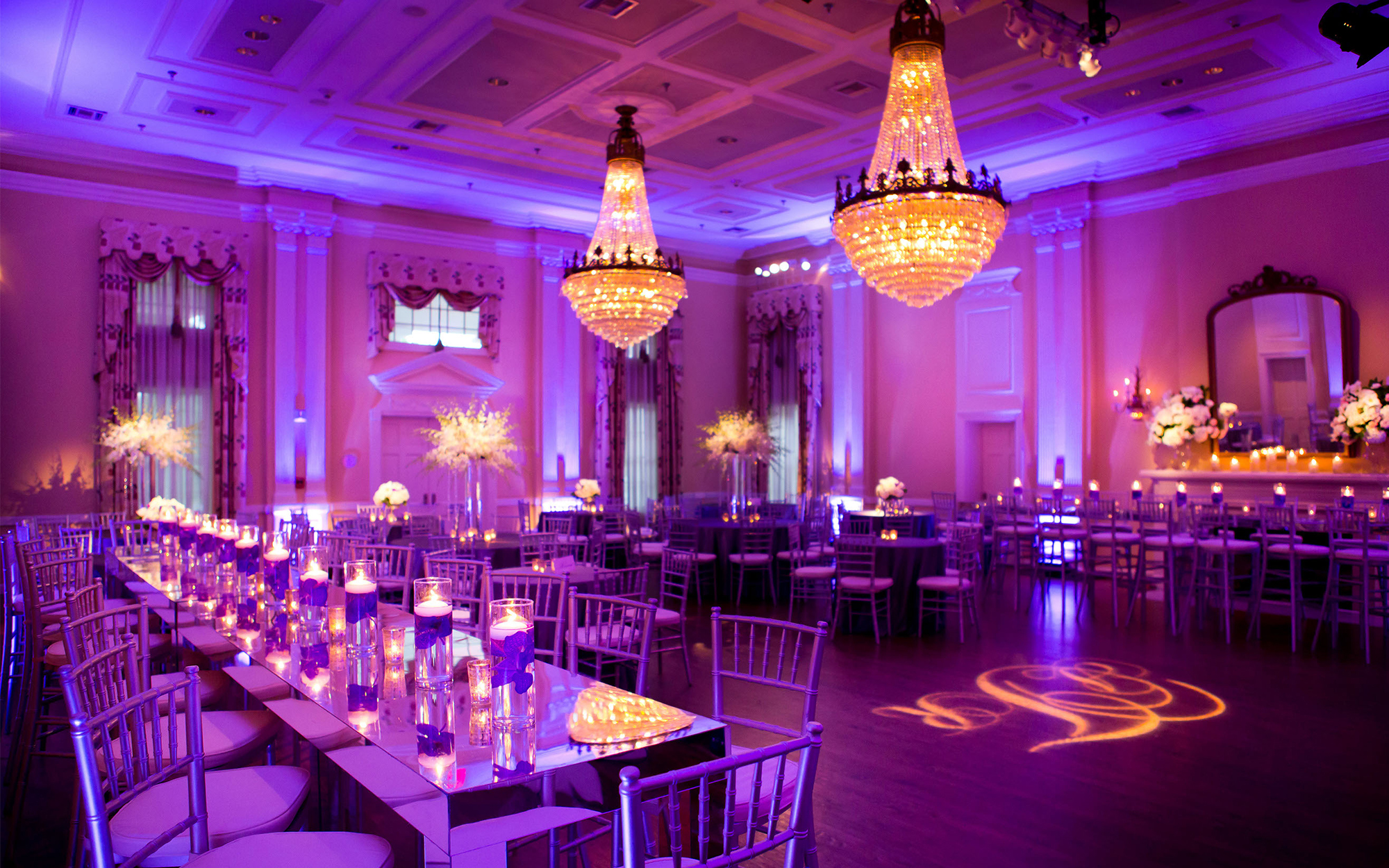 Purple Decor Uplighting at Arlington Hall