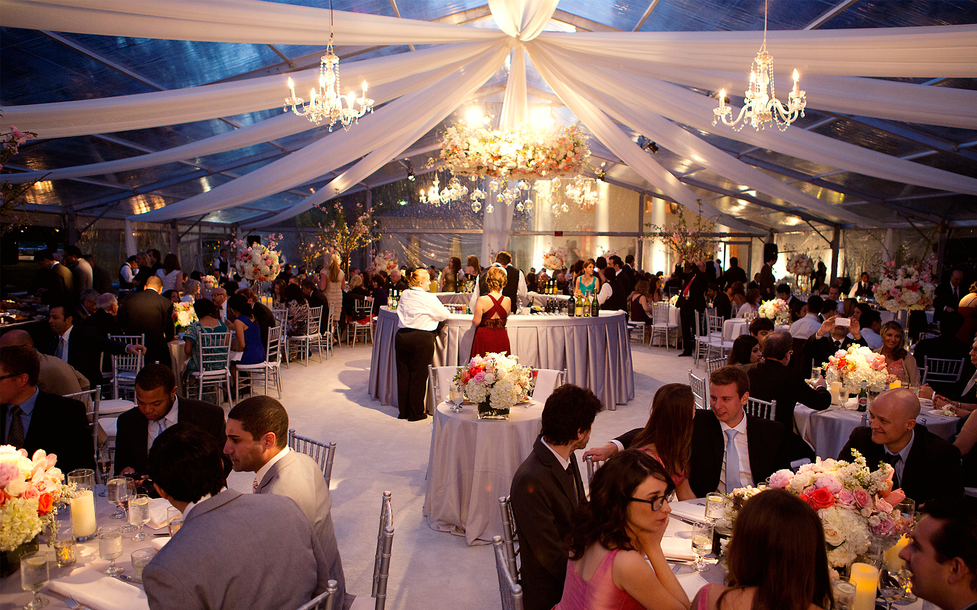 Custom Tent Lighting with Chandeliers